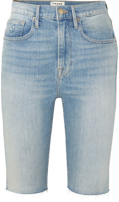 Frame Le Vintage Bermuda Frayed Denim Shorts - Mid denim