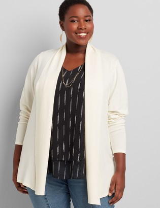 Lane Bryant Shawl-Collar Overpiece With Ribbed Inset