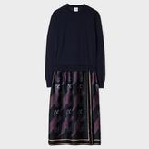 Paul Smith Women's Navy Merino Wool Sweater With 'Dino' Silk Skirt