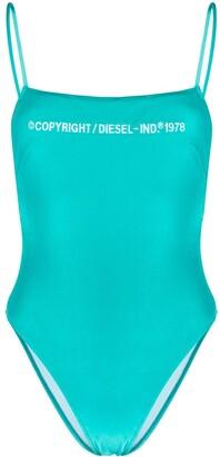 Diesel Velvet Finish Embroidered Logo Swimsuit