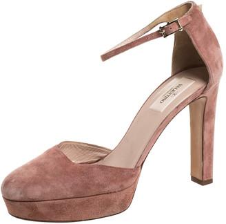 Valentino Beige Suede Leather Platform Ankle Strap Sandals Size 39