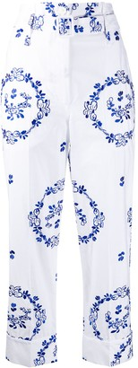 Simone Rocha Floral-Embroidered Cropped Trousers