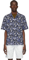 Norse Projects Navy Lawn Print Carsten Short Sleeve Shirt