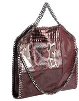 Stella McCartney purple faux leather animal print accent 'Falab' braided chain detail shoulder bag
