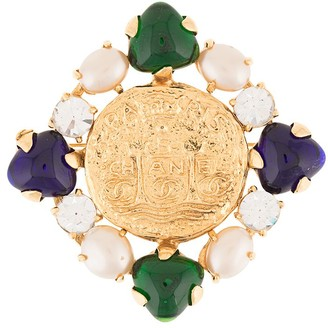 Chanel Pre Owned 1993 Faux Cabochons Square Brooch