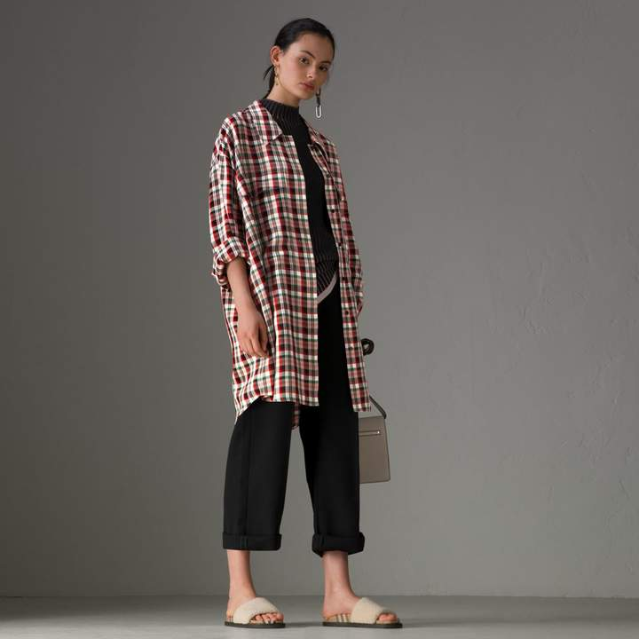 Burberry Small Scale Check Oversized Shirt