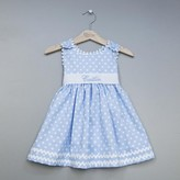 The Well Appointed House Girl's Personalized Polka Dot Pique Sash Dress in Light Blue-Can Be Personalized