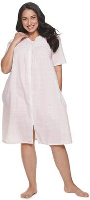 Croft & Barrow Plus Size Woven Zip Robe