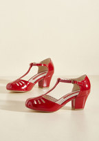 Shimmer Down Now T-Strap Heel in Cherry Gloss in 6.5