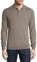 Michael Kors Long-Sleeve Merino Wool Polo Shirt