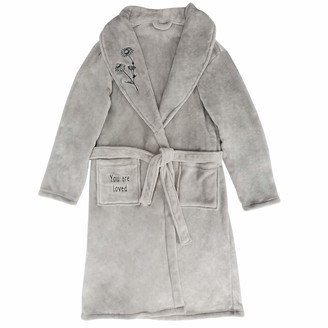 Pavilion Gift Company You are Loved - One Size Fits Most Grey Tie Robe