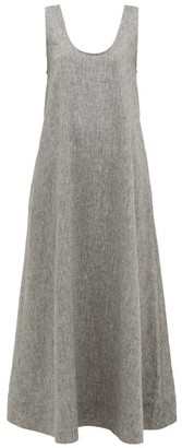 Asceno - Capri Scoop Neck Linen Dress - Womens - Grey