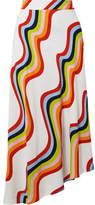 House of Holland Asymmetric Printed Voile Midi Skirt - White