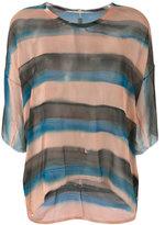 Raquel Allegra striped sheer T-shirt - women - Silk - 0