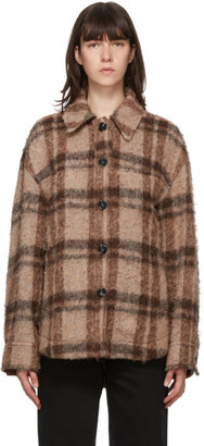 Acne Studios Brown and Orange Wool Check Jacket