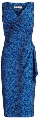 Chiara Boni Charisse Leopard-Print Wrapped Sheath Dress