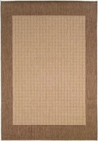 Couristan Recife Checkered Field Rug In Natural-Cocoa - 5 Foot 10 Inch x 9 Foot 2 Inch