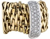 Orlando Orlandini 18K Gold and Diamond Basketweave Ring