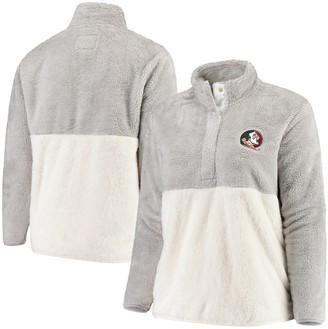Women's Gray/Cream Florida State Seminoles Plus Size Fuzzy Fleece Colorblocked Four-Snap Pullover Jacket