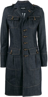 DSQUARED2 sphere buttons long denim jacket