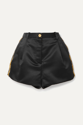 Versace Crystal-embellished Embroidered Duchesse-satin Shorts - Black