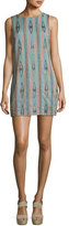 Alice + Olivia Clyde Embellished Sleeveless Shift Dress, Green