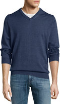 Neiman Marcus Wool Long-Sleeve V-Neck Sweater, Eclipse
