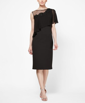SL Fashions Women's Plus Size Short Sleeve Sheer Yoke Tier Dresss