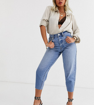 ASOS DESIGN Petite Balloon leg boyfriend jeans in mid blue wash