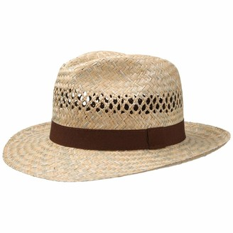 Lipodo Albany Bogart Straw Hat Women/Men - Made in Italy Summer Sun with Grosgrain Band Spring-Summer - XL (60-61 cm) Nature