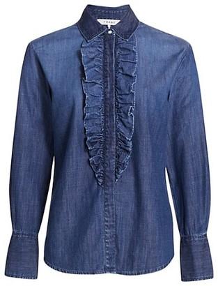 Frame Ruffled Denim Tuxedo Shirt
