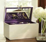 Pottery Barn Pebble Leather Large Ivory Jewelry Box