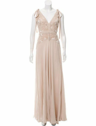 Elie Saab Silk Beaded Evening Gown Champagne