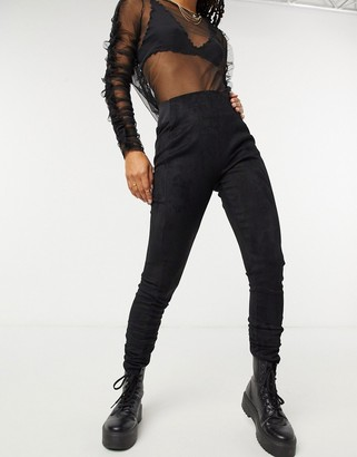 JDY suedette leggings in black