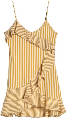 Hyfve Spaghetti Strap Ruffle Trim Stripe Dress
