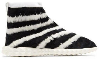 Valentino Free Striped Feather-embellished High-top Trainers - White Black