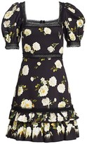 Alice + Olivia Wylie Floral Puff-Sleeve A-Line Dress