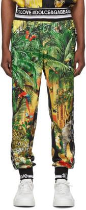 Dolce & Gabbana Multicolor Mix Hawaii Logo Lounge Pants
