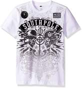 Southpole Big Boys' Short Sleeve Flock All Over Graphic Tee with Logo