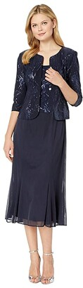 Alex Evenings Tea Length Mock Jacket Dress with Sequin Detail (Navy) Women's Dress