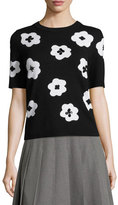 Kate Spade Short-Sleeve Floral Pullover Sweater, Black/Cream