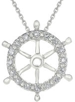 FINE JEWELRY Diamond-Accent 10K White Gold Ship Wheel Mini Pendant Necklace