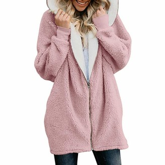 Younthone Womens Solid Oversized Zip Down Hooded Fluffy Coat Cardigans Outwear with Pocket Thick Fleece Casual Jacket Teddy Coat Winter Outdoor Windproof Warm Cotton Coat Multi-Color Multi-Code