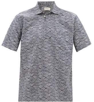 Oliver Spencer Yarmouth Fan-jacquard Cotton Short-sleeved Shirt - Mens - Navy Multi