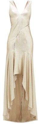 Galvan Releve Asymmetric Lurex Gown - Womens - Gold