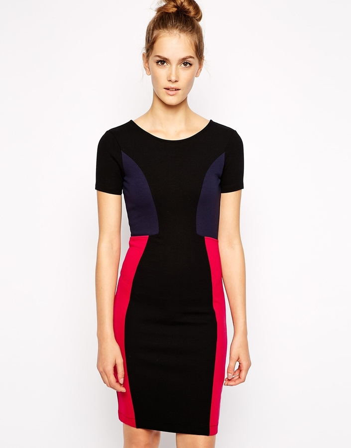 French Connection Manhatten Dress in Color Block