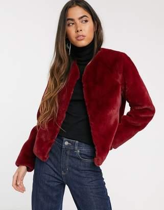 Stradivarius faux fur jacket in burgundy