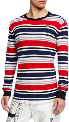 Scotch & Soda Men's 3D Waffle-Knit Long-Sleeve Striped T-Shirt