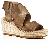 Eileen Fisher Metallic Leather Espadrille Wedge Sandals