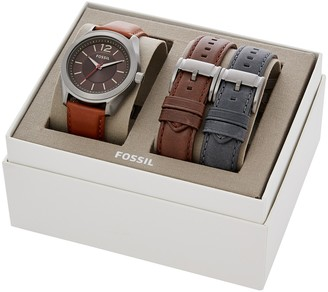 Fossil Men's Interchangeable Leather Strap Watch, 42mm